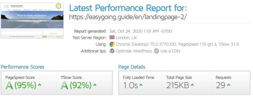 Schnelle Webseite easygong.guide nach Optimierung